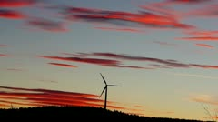 Windmill in  sunset Stock Footage