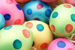 Easter eggs with dots - stock photo
