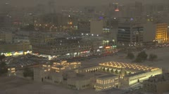 The State Mosque of Qatar and Doha city by twilight Stock Footage
