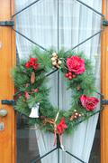 Christmas wreath on a door Stock Photos
