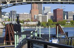 Stock Photo of Portland OR., skyline and old submarine, Portland OR.