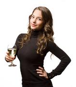 a glass of premium white wine. - stock photo