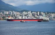 Stock Photo of n. vancouver a tanker & tug boat in burrard inlet ca.