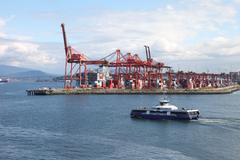 Industrial port of vancouver bc canada & seabus transport. Stock Photos
