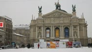 Stock Video Footage of Lviv Opera House in winter