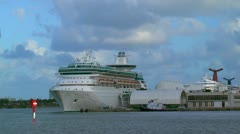 Port of Miami.  Cruise ships seen along dock. - stock footage