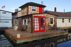 A residential floating small house. Stock Photos