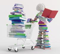 in a bookstore - stock illustration