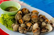 Blanched scallop. Stock Photos