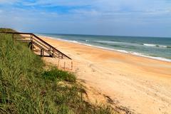 florida beach with wooden ocean access - stock photo