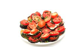 Stock Photo of roasted eggplant with tomatoes