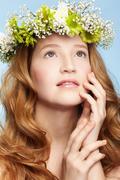 beautiful redhead girl - stock photo