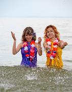 girls in the water - stock photo