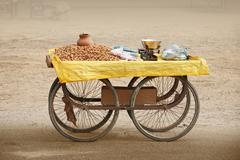Counter to sell roasted peanuts. india. Stock Photos