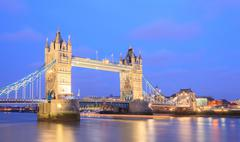 london tower bridge panorama - stock photo