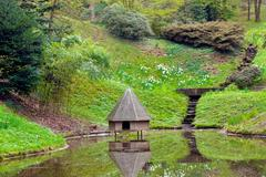 spring landscape. pond with a small house for wild birds. - stock photo