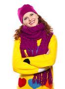 Beautiful girl in warm clothing Stock Photos