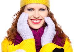 beautiful girl in warm clothing - stock photo