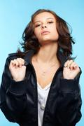 girl in leather jacket - stock photo