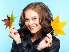 Girl in leather jacket Stock Photos