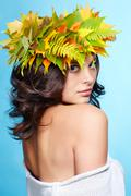 girl in autumn garland - stock photo