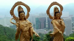 View of Hong Kong (new territories) & Arhan's Golden Statues. Stock Footage