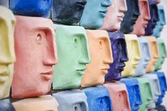 colorful faces - stock photo