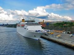 Cruise liner in Stockholm - stock photo