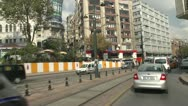 Drive plate, Istanbul into city busy built up, ambulance passes Stock Footage