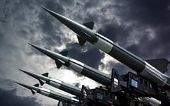 antiarcraft rockets - stock photo
