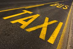 taxi and bus line - stock photo