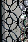 Door frame with decorative circles pattern Stock Photos