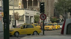 Traffic turning, busy Istanbul intersection Stock Footage