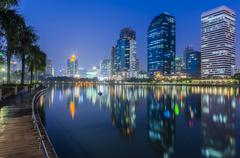 Bangkok city at twilight with reflection - stock photo