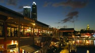 Miami Bayside market  and  Biscayne bay area at dusk Stock Footage