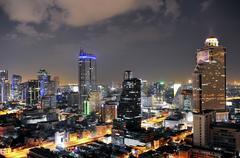Bangkok city at night Stock Photos