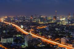 bangkok city at night - stock photo