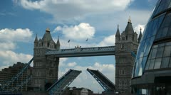 Tower Bridge in London closing the bascules Stock Footage