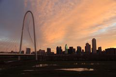 Dallas Bridge at Dawn w/ Orange sky Stock Photos