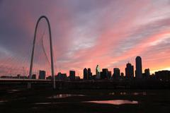 Dallas Skyline Bridge At Dawn Stock Photos