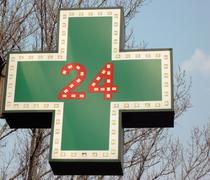 Medical  twenty-four-hour drugstore signboard Stock Photos