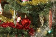 Many of toys on green christmas fir Stock Photos