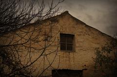 Abandoned house rainy day Stock Photos
