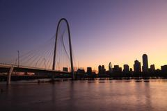 Dallas Bridge Skyline with River Water at dawn Stock Photos