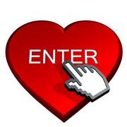 Hand select enter in a red heart Stock Illustration