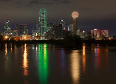 Stock Photo of Dallas SkyLine with classic view reflecting in full river