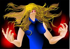 Woman in a rage Stock Illustration