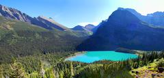 Lower Grinnell Lake from above - stock photo