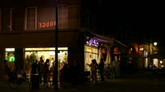 Ice cream parlor by night Stock Footage