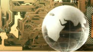Globe on the background of the motherboard Stock Footage